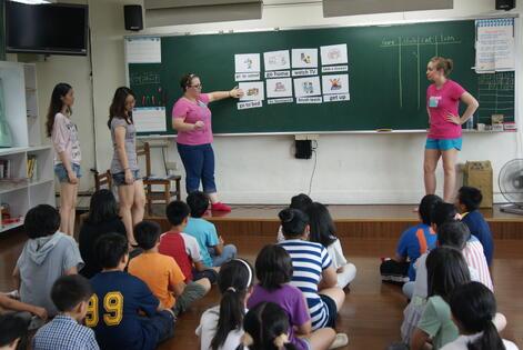 Kate Steinel and Lauren Harbaugh teaching English in Taiwan