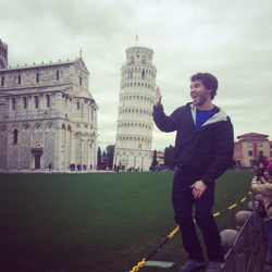 Michael Cerchione with the Leaning Tower of Pisa