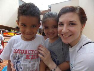 Sara with Children in Brazil