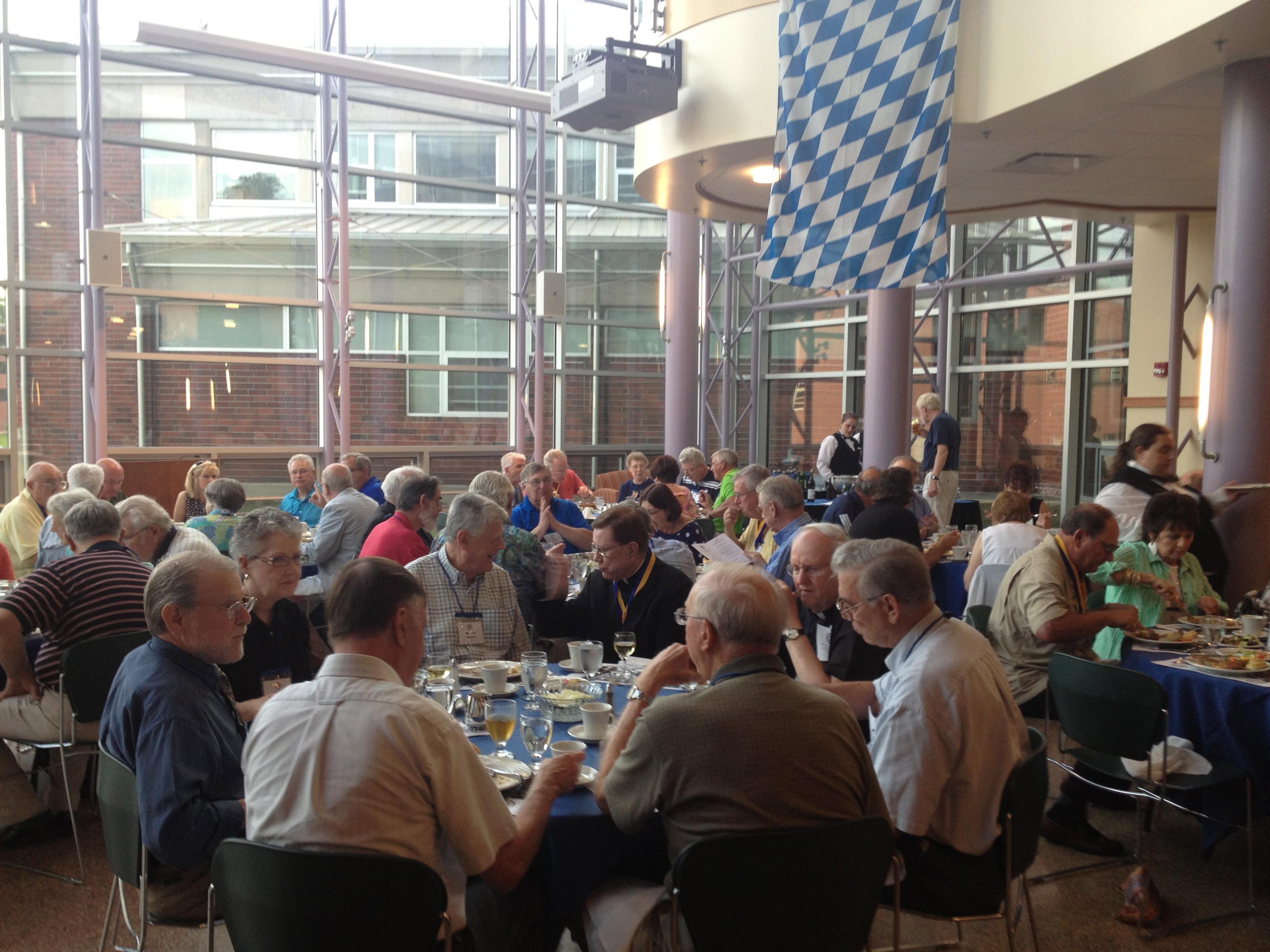 The prep reunion dinner in the atrium