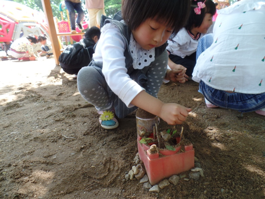 Young Chinese child planting