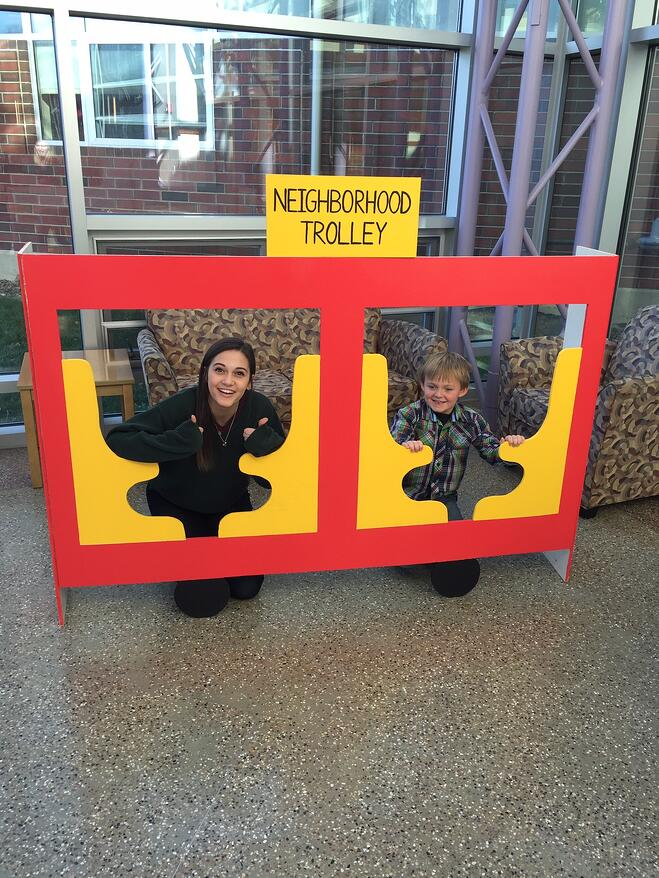 Fred Rogers Scholar Michaela takes a pic in the trolley with a friend!