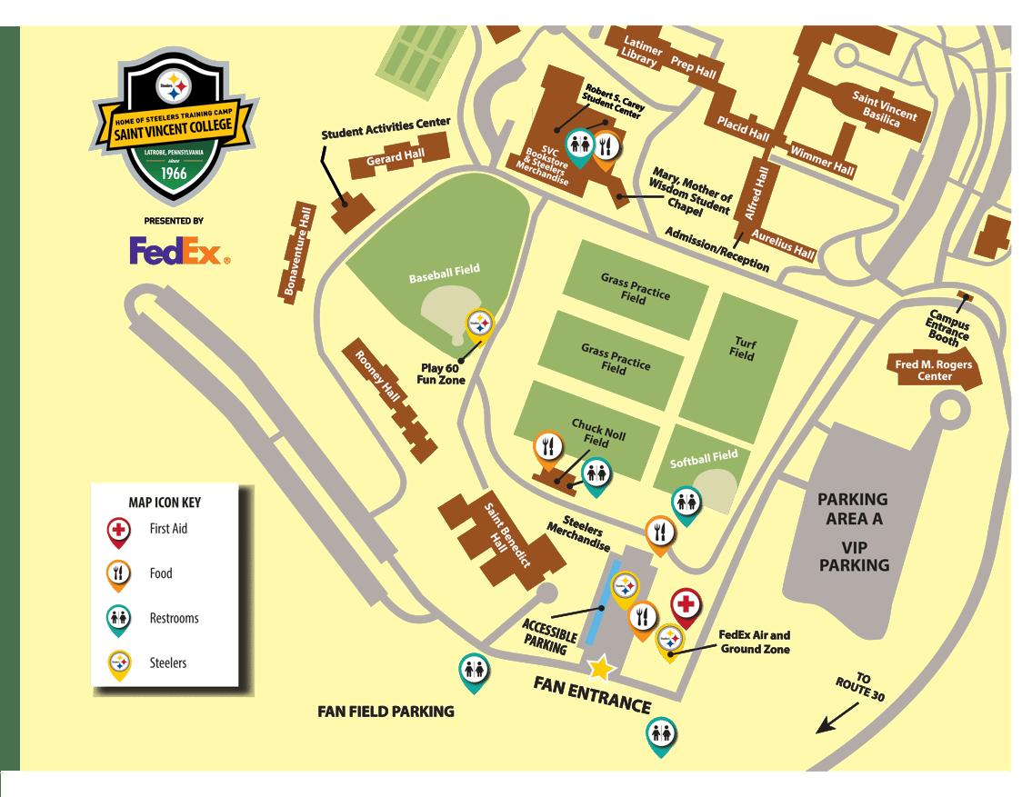 Steeler Training Camp Map 2019