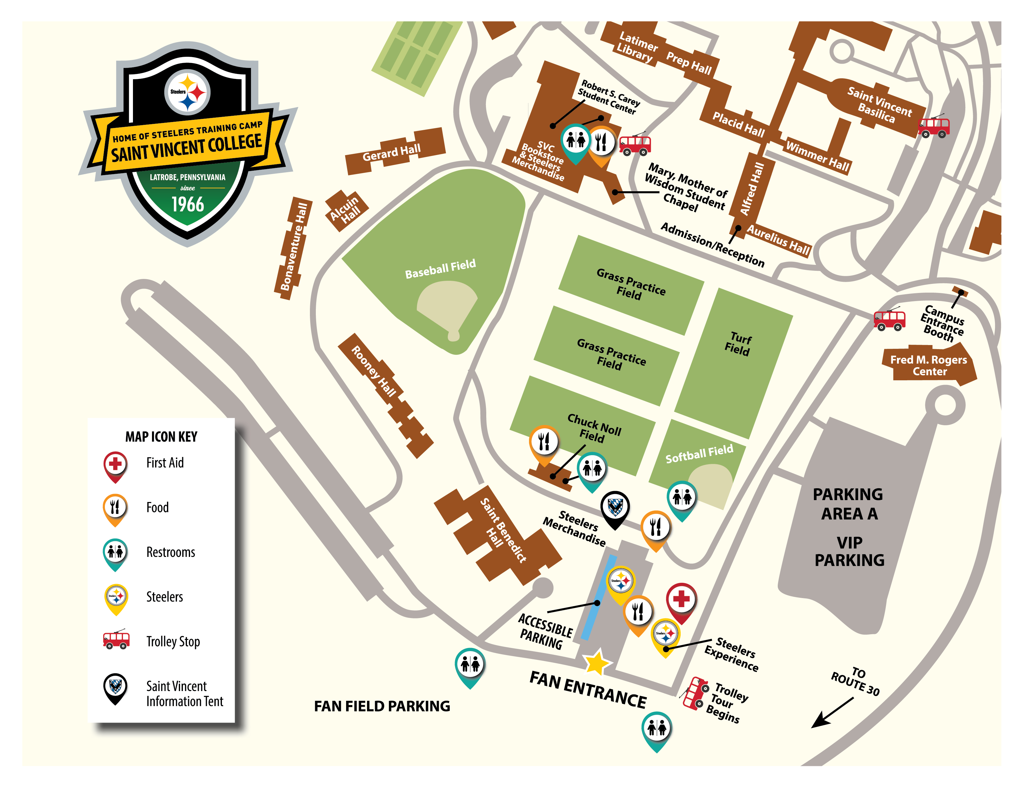 Steeler Training Camp Map
